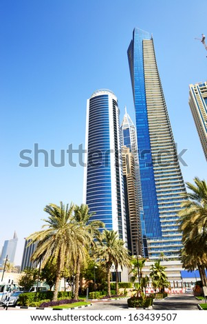 The modern skyscrapers in Dubai city, UAE - stock photo