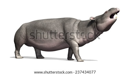 The Moeritherium is a prehistoric mammal that is related to the elephant; it lived 30 - 37 million years ago - 3d render. - stock photo