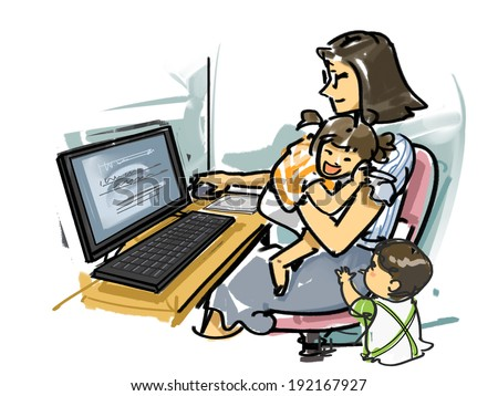The mom who works in a house - stock photo