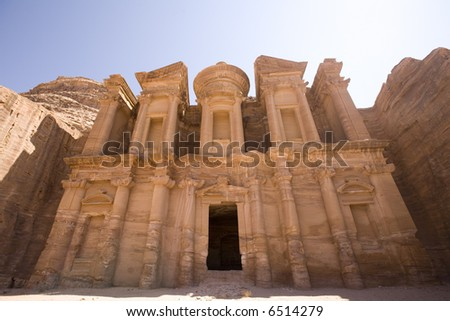 The Monastery at Petra Jordan - stock photo