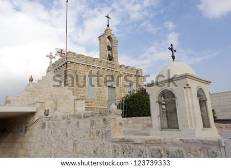 The monastery at the Shepherds' Field 1 km from Bethlehem - stock photo