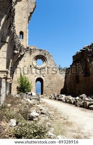 the monastery in bellapais, a small village in northern cyprus - stock photo