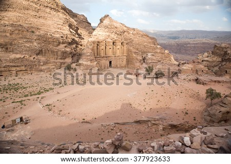 The Monastery monument in the old Nabataean city Petra, Jordan - stock photo