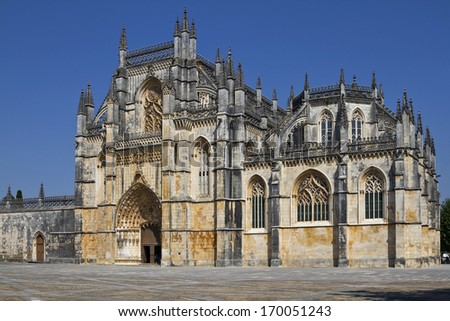 The Monastery of Batalha is a Dominican convent  - stock photo