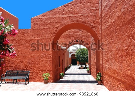 The Monastery of Saint Catherine (Spanish: Santa Catalina) is a monastery of nuns of the Domincan Second Order, located in Arequipa, Peru. It was built in 1580 and was enlarged in the 17th century. - stock photo