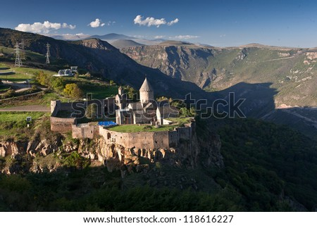 The Monastery of Tatev is a 9th century Armenian monastery located on a large basalt plateau near the Tatev village in Syunik Province. - stock photo