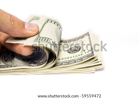 The money in hand isolated on white background - stock photo