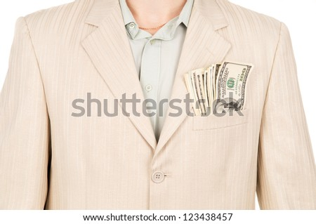 the money is in the pocket of the suit isolated on white background - stock photo