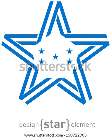The monochrome star with flag of Honduras colors and symbols - stock photo