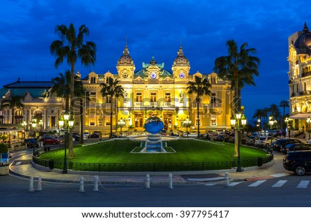 The Monte Carlo Casino, gambling and entertainment complex in Monte Carlo, Monaco, Cote de Azul, Europe.  - stock photo