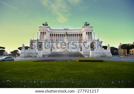 The Monument of Victor Emmanuel II, Venezia Square,  in Rome, Italy - stock photo