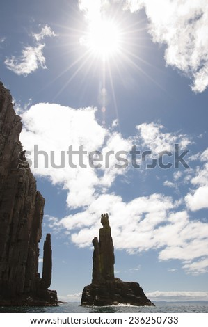 The Monument Silhouette  - Bruny Island - Tasmania - stock photo