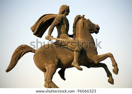 The monument to Alexander the Great in Thessaloniki, Greece - stock photo
