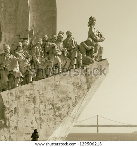 The Monument to the Discoveries in Lisbon ( Padrao dos Descobrimentos ) - Portugal (stylized retro) - stock photo