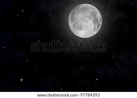 The moon on night sky - stock photo
