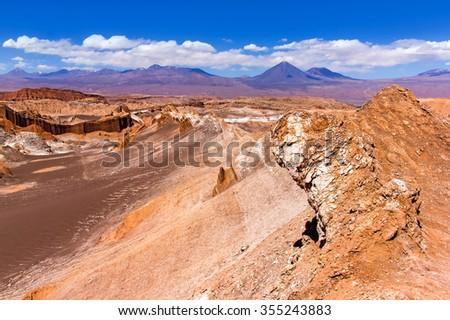 The Moon Valley (Valle de la Luna) in the Atacama desert, Chile - stock photo