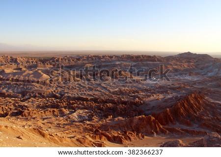 The moon valley, Valle de la luna, in the Atacama desert, Chile - stock photo