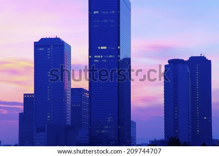The Morning Glow Of Osaka Obp Buildings - stock photo