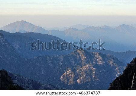 The morning landscape of the Yellow Mountain (Huangshan) scenic area located in Anhui Province China.  - stock photo