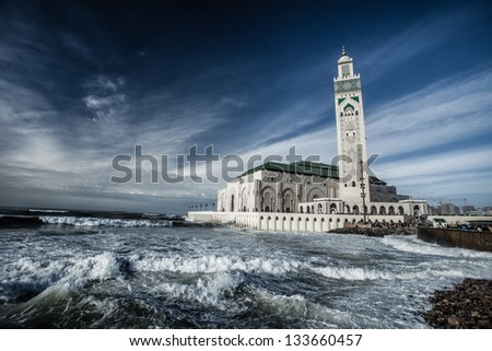 The Mosque of Hassan II in Casablanca, Africa - stock photo