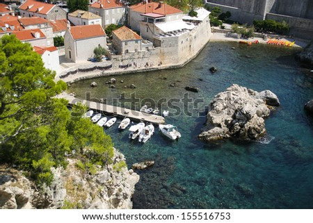 The most amazing bay in Dubrovnik, view from the Fortress of St. Lawrence, near the city walls, Croatia - stock photo