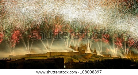 the most beautiful fireworks French, to the city of Carcassonne - stock photo