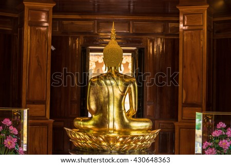 The Most Beautiful Golden Buddha ; backside of Gold Buddha statue at public worship, Thailand - stock photo