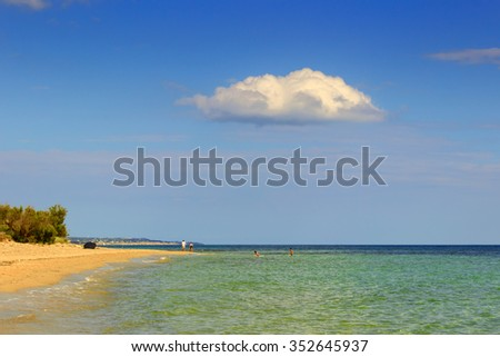The most beautiful sandy beaches of Apulia. ITALY(SALENTO).From Torre Pali to Pescoluse the shore is made of a so fine white sand and vashed by a so clear sea that it is called 'Maldive of Salento'. - stock photo