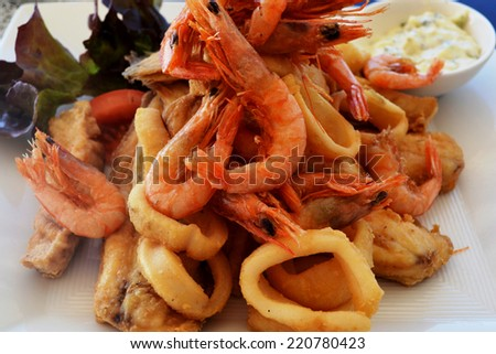 The most delicious sea food and fish fried. - stock photo