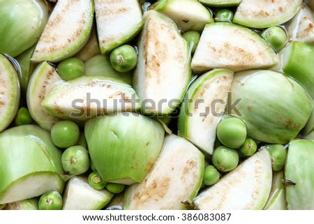 The most ingredients of Thai food are egg plant. - stock photo