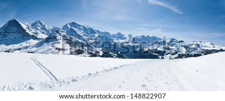 The most popular ski resort of Switzerland. The view on such tops as Eiger, Monk and Jungfrau, Switzerland. - stock photo
