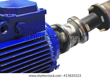 The motor rotates the shaft through cardan transmission. Isolated on white background - stock photo