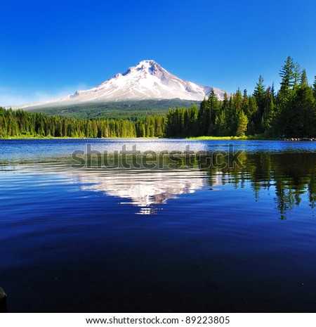The Mount Hood reflection in Trillium Lake - stock photo