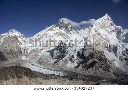 The mountain Everest and Khumbu glacier in Nepal. - stock photo