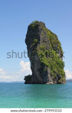 The mountain in sea krabi ,thailand - stock photo