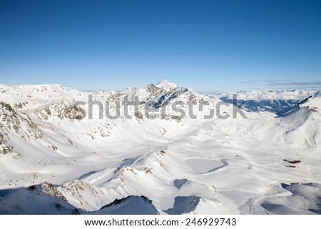 the mountain range in winter, the Alps - stock photo