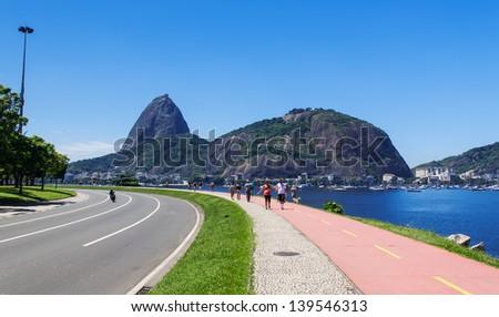 The mountain Sugar Loaf and Urca in Rio de Janeiro - stock photo