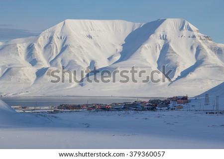 The mountains around the city of Longyearbyen, Spitsbergen (Svalbard). Norway - stock photo