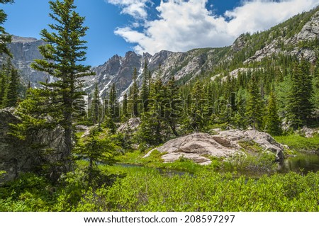 The Mountains from the left Hallett Peak and Flattop Mountain from the trail-Rockies Colorado - stock photo