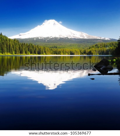 The Mt Hood and the trillium Lake - stock photo