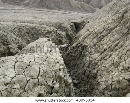 The Muddy volcanoes landscape from Buzau, Romania - stock photo
