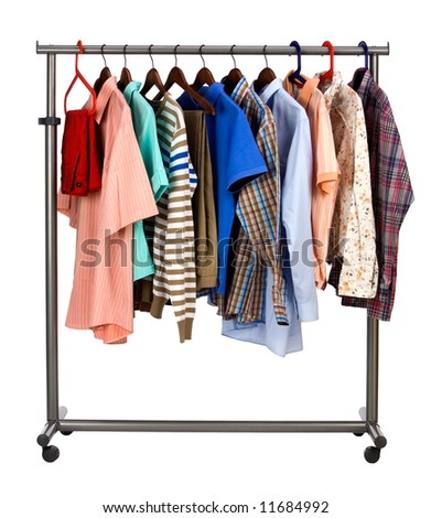 The multi-coloured  men's clothes hangs on a hanger on white  background - stock photo