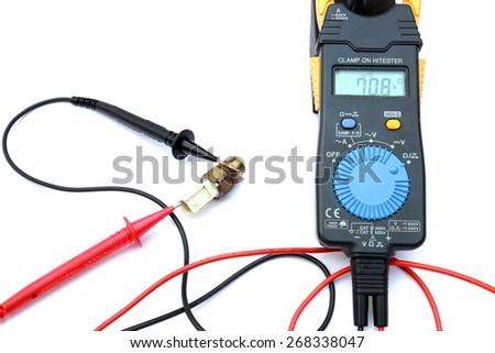 The multimeter, heat engine sensors  isolated on white background - stock photo