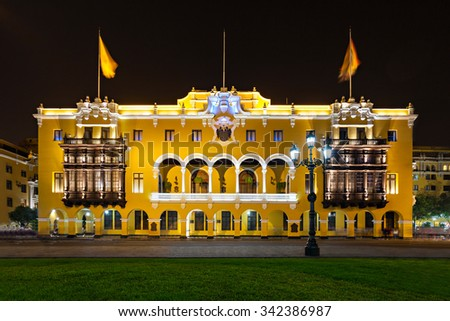 The Municipal Palace of Lima is located in Lima, Peru - stock photo