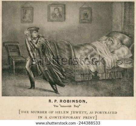 The murder of Helen Jewett in 1836 allegedly by Richard P. Robinson, leaving the brothel scene with a hatchet in hand, before he set it on fire. An illustration of the murder scene from a pamphlet. - stock photo