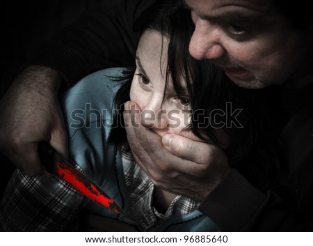 The murderer and his victim - stock photo