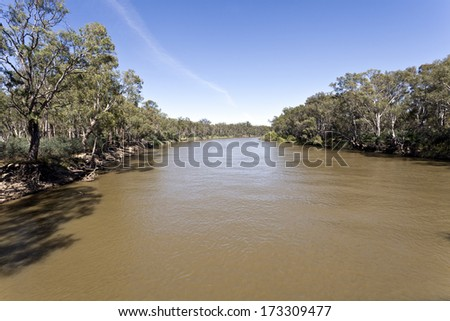 The Murray River at Tocumwal, New South Wales, Australia - stock photo