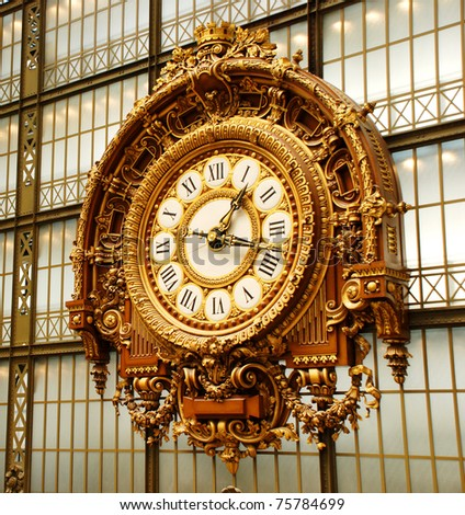 The Musee D'orsay clock in Paris, France - stock photo