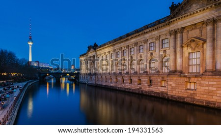 The Museum Island in Berlin at night with tv tower - stock photo