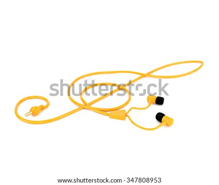 The music concept headphones with a yellow cable in the form of a treble clef isolated on white background. 3d illustration. - stock photo